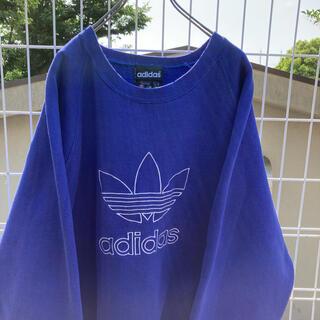 adidas - 90s adidas トレフォイル スウェット ビックロゴ 刺繍 ゆるだぼ