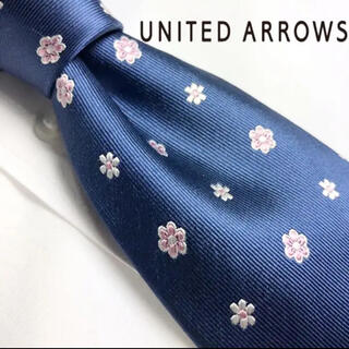 UNITED ARROWS - [美品!]UNITED ARROWS 肉厚 ツヤ有り 花柄 シルク100%