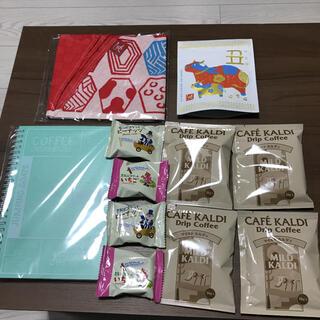 カルディ(KALDI)のカルディKALDIまとめ売りコーヒーもへじエコバッグ豆乳ビスケット干支茶ノート(菓子/デザート)