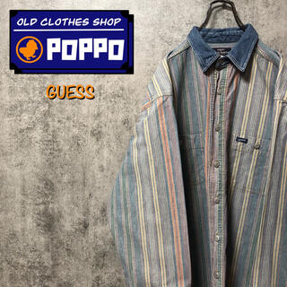 ゲス(GUESS)のゲスGUESS☆USA製ロゴタグデニム襟切替ストライプヒッコリーシャツ 90s(シャツ)