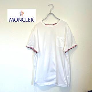 MONCLER - 美品 MONCLER モンクレール 肩 ロゴ ポケット Tシャツ M 白 半袖