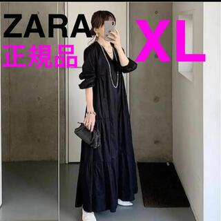 ZARA - ZARA  正規品 新品 パフスリーブ付きポプリンワンピース vネックワンピース