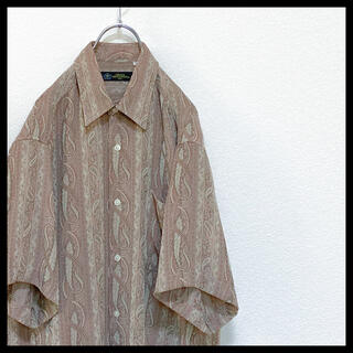 90s CR メンズ レトロ 古着 総柄 オーバーサイズ 半袖 柄シャツ