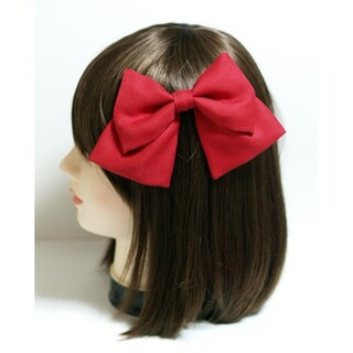 ビッグリボン 赤色 髪飾り スリーピン コスプレ衣装小物 赤 大きなリボン 無地(アクセサリー)