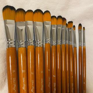 絵筆 油絵筆 水彩画筆 アクリル 13本セット 新品 未使用(絵筆)