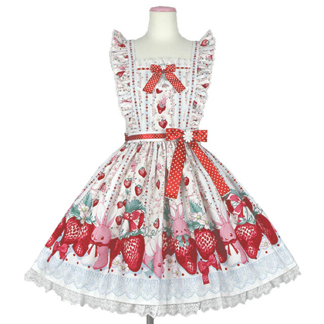 Angelic Pretty(アンジェリックプリティー)のlittle bunny strawberry エプロン風スカート♡白 レディースのスカート(ひざ丈スカート)の商品写真
