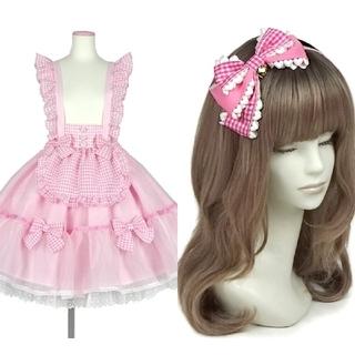Angelic Pretty - 【新品】ふんわりパフェスカート&Lovelyギンガムカチューシャ(ピンク)