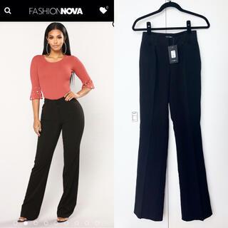 ザラ(ZARA)の新品 fashion nova 黒 パンツ ボトム シンプル スーツ(カジュアルパンツ)