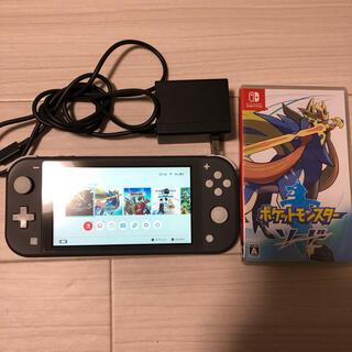 Nintendo Switch - スイッチライト本体グレー、ソフト、モンハンライズ、ポケモンソード