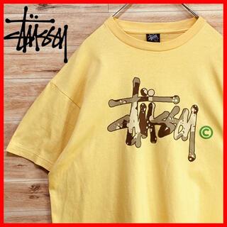 STUSSY - 【人気ロゴ】stussyステューシーtシャツ  半袖Lイエロー カモフラロゴ