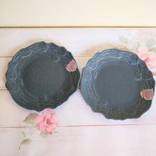 よしざわ窯 青錆釉チューリップのお皿