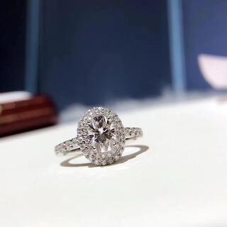 【newデザイン】豪華仕様 オーバル モアサナイト  k18WG(リング(指輪))