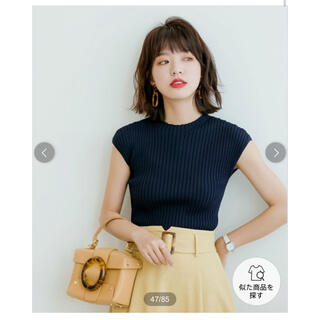 dholic - 新品タグ付き☆ セゾンドパピヨン フレンチスリーブリブ切替サマーニットトップス