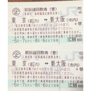 ジェイアール(JR)の東海道新幹線  東京(都区内)~新大阪(市内)  2枚(鉄道乗車券)