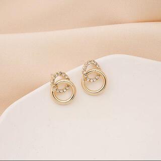 アーカー(AHKAH)のdouble ring zirconia pierce ⚪︎s925 post(ピアス)