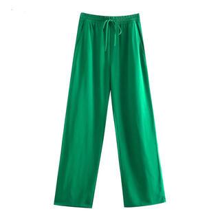 グリーン 緑 フルイドパンツ ストレッチパンツ ZARA GU moussy