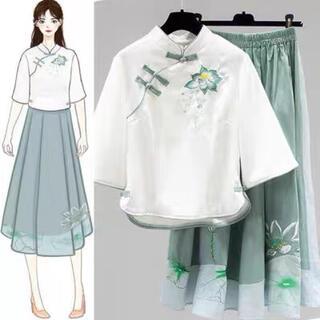 シフォンワンピース 2点セット ドレス M 春夏 刺繍 文芸 淑女気質 七分袖(衣装一式)