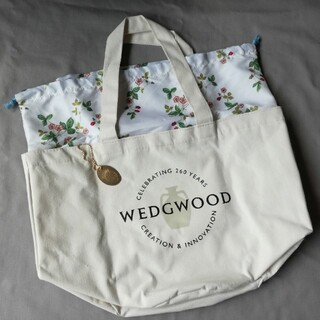 WEDGWOOD - WEDGWOOD ワイルドストロベリー柄の巾着付きバケツ型トートGLOW付録