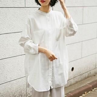 LOWRYS FARM - ローリーズファーム バンドカラーチュニックシャツ ブラウス ホワイト