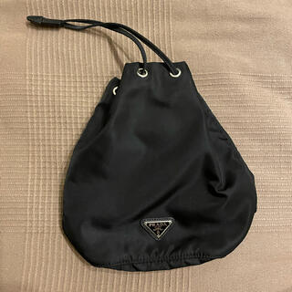 PRADA - PRADA 巾着ポーチ ブラック ナイロン