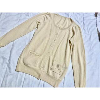franche lippee - フランシュリッペ  カーディガン ウール ベージュ くま クマ刺繍 美品