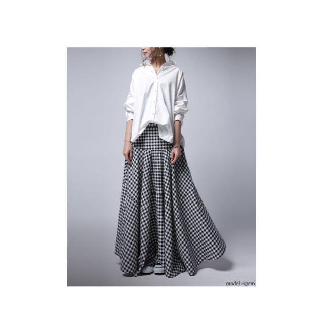 antiqua(アンティカ)の【antiqua】ギンガム チェック 柄 フレア スカート【アンティカ】 レディースのスカート(ロングスカート)の商品写真