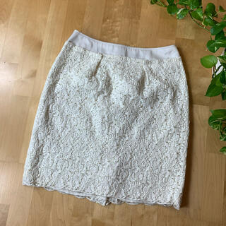 UNTITLED - UNTITLED アンタイトル レーススカート 2 M 白 ホワイト 総柄 花柄