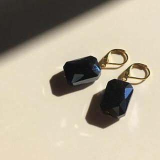 016 一粒ビジュー 長方形 ブラック 黒 ピアス イヤリング ハンドメイド