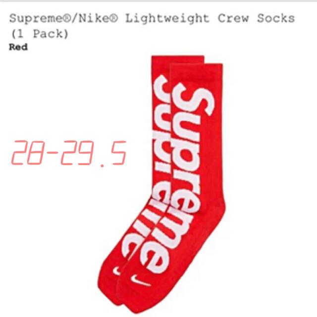 Supreme(シュプリーム)のSupreme Nike Lightweight Crew Socks red メンズのレッグウェア(ソックス)の商品写真