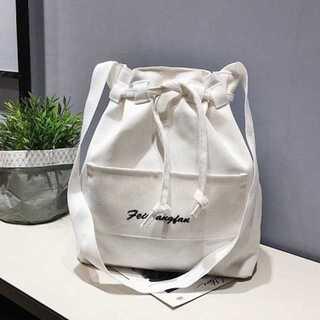【可愛い巾着バック】トートバック★ショルダーバック★韓国ファッション★ホワイト