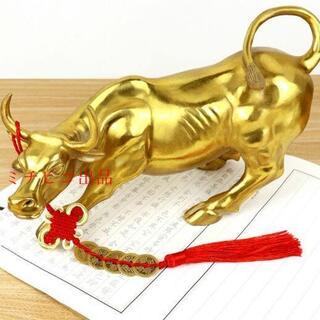 純銅の牛の置物ウォール街の牛の干支の風水の工芸品は株を运んできました(彫刻/オブジェ)