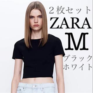 【新品未使用】ZARA クロップド丈Tシャツ コットンTシャツ 2枚セット M(Tシャツ(半袖/袖なし))