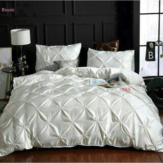 贅沢感満々?シングル布団カバー点白雪な寝具セットシーツ/枕カバー付ツルツル1(シーツ/カバー)