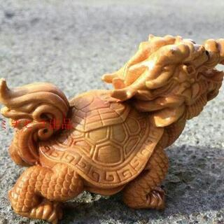 龍亀  手作り 木彫 工芸品 置物  精密細工 開運(彫刻/オブジェ)