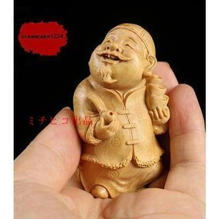 福の神 仏像 Q 黄楊木 木彫 工芸品 置物 手作り(彫刻/オブジェ)