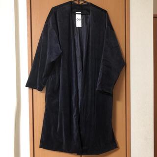ジーユー(GU)のGU ジーユー ノーカラーベロアガウンコート XL ネイビー 紺(ガウンコート)