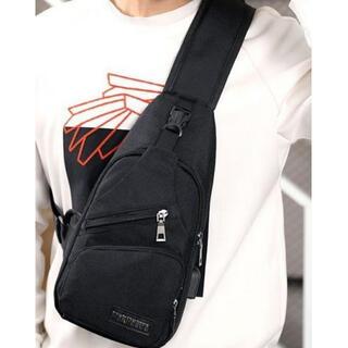 多機能!メンズボディバッグ 肩掛け 斜め掛け ブラック 黒 多機能・高機能(ボディーバッグ)