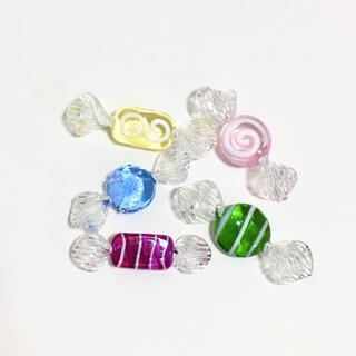 新品チェコガラス ガラスキャンディ5個セット
