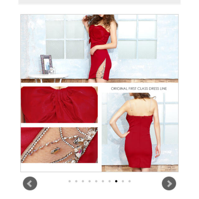 AngelR(エンジェルアール)のangel R リボン タイト シースルー ドレス S 赤 キャバドレス レディースのフォーマル/ドレス(ミニドレス)の商品写真