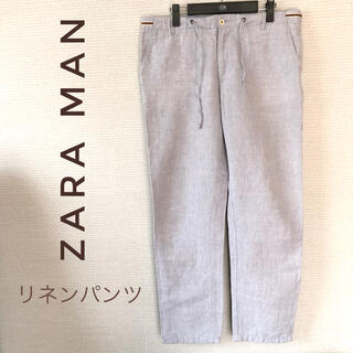 ZARA - ZARA MAN ザラ リネンパンツ ブルー XL