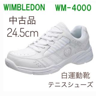 アサヒシューズ(アサヒシューズ)の白運動靴 スニーカー テニスシューズ 24.5cm ウインブルドン WM4000(シューズ)