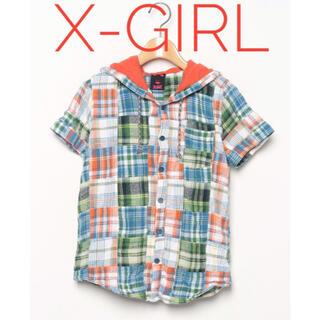 エックスガール(X-girl)のX-girl【美品】パッチワーク調 チェック柄 半袖 パーカー(パーカー)