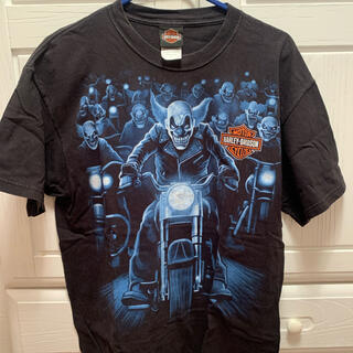 Harley Davidson - ハーレーダビッドソン ピエロ 青 古着 Tシャツ