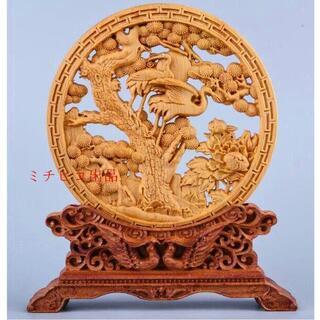 太行崖柏木彫り松鶴延年円盤置物、家の居間に飾る(彫刻/オブジェ)