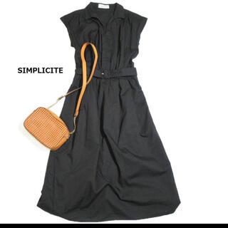 Simplicite - シンプリシテェ SIMPLICITE ベルト付き スキッパー シャツ ワンピース