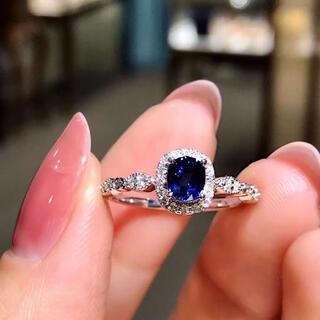 天然ロイヤルブルーサファイア ダイヤモンド リング0.69ct k18¥(リング(指輪))