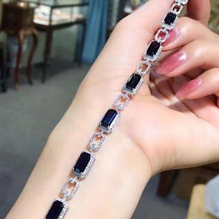天然 ブルーサファイア ダイヤ ブレスレット約13.37ct k18 ¥(ブレスレット/バングル)