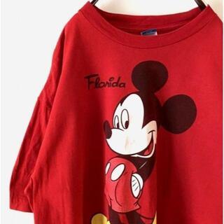 ディズニー(Disney)のDisney  ミッキー プリント Tシャツ XL レッド 赤 古着(Tシャツ/カットソー(半袖/袖なし))