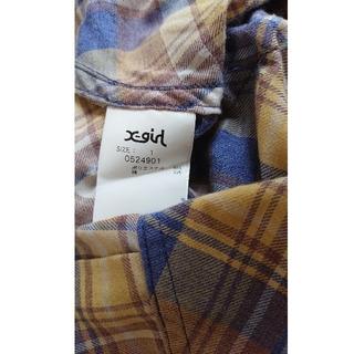 エックスガール(X-girl)のX-GIRL チェック バンドカラーシャツ ワンピース(シャツ/ブラウス(長袖/七分))