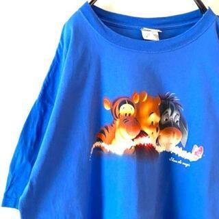 ディズニー(Disney)のDisney くまのプーさん Tシャツ ラメ ティガー ブルー青 2XL古着(Tシャツ/カットソー(半袖/袖なし))
